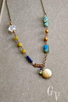 Genevieve. bohemian beaded gemstone locket by tiedupmemories
