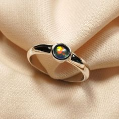 Stunning Black Opal Ring in Sterling Silver  Red Multicolor Jewelry by GKJdesigns