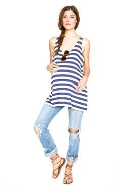 maternity outfit tank and jeans, love this for just hanging out