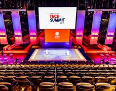 Stage design - TechSummit 2018 on Behance Corporate Event Design, Stage Set Design, Business Events, Scenic Design, Stage Lighting, Gate Design, Hand Lettering, Architecture Design, Typography