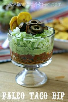 Use GF ingredients! Paleo Friendly Taco Dip from www.everydaymaven.com
