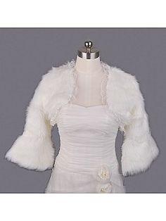 5a2a580b9d0 Lace Trimmed Ivory Faux Fur Bridal Jacket - USD  18.69 Wedding Jacket