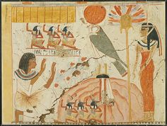 Userhat Adoring Deities of the West, Tomb of Userhat Artist: Norman de Garis Davies (1865–1941) Period: New Kingdom, Ramesside Dynasty: Dynasty 19 Reign: reign of Seti I Date: ca. 1294–1279 B.C. Geography: From Egypt, Upper Egypt; Thebes Medium: Tempera on paper Dimensions: Facsimile h. 68 cm (26 3/4 in); w. 94.5 cm (37 3/16 in) scale 1:1 Framed h. 69.2 cm (27 1/4 in); w. 90.5 cm (35 5/8 in) Credit Line: Rogers Fund, 1930 Accession Number: 30.4.31