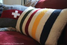 A simple knitting pattern for total beginners.  How to knit a Hudsons Bay blanket inspired pillow.
