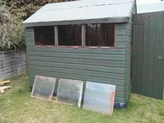 Shed windows can easily be replaced with clear acrylic perspex - cheaper and lighter than glass!