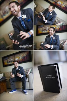 "Groom opening up a gift from his bride. A ""little black book"" filled with her sexy boudoir photos! Great surprise for a groom on the wedding day before the ceremony."