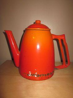 Vtg DESCOWARE Belgium Decorative Orange COFFEEPOT Teapot Heavy Wear