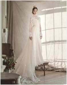 This timeless high-neck wedding dress from Clara Wedding featuring a detachable train is fit for a queen! This timeless high-neck wedding dress from Clara Wedding featuring a detachable train is fit for a queen! Denim Wedding Dresses, Greek Wedding Dresses, Wedding Dress Low Back, Wedding Dress Chiffon, Beautiful Wedding Gowns, Country Wedding Dresses, Princess Wedding Dresses, Bridal Dresses, Beautiful Dresses