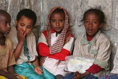 Ethiopian children waiting to join an activity at a Bahá'í children's class.
