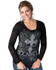 Rock & Roll Cowgirl® Women's Black with Glass Stone Cross & Rhinestone Wings Long Sleeve Burnout T-Shirt