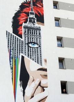 A Bowie mural on an apartment building in Warsaw, Poland