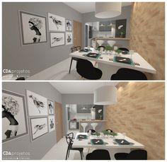 Cozinha pequena com detalhes em preto e tijolinhos | CDA projetos