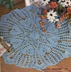 Free Crochet Pattern For A Beautiful Blue Hearts Doily