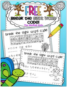 FREEBIE: Break the Sight Word Code!  Kids can use the code to reveal and read a sight word sentence!