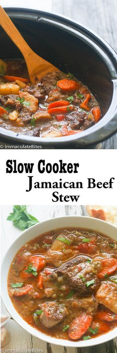 Slow cooker Jamaican Beef Stew -Rich and exciting, beautifully tender cooked low and slow for hours! One pot meal Loaded with vegetables ! Warm, comforting and