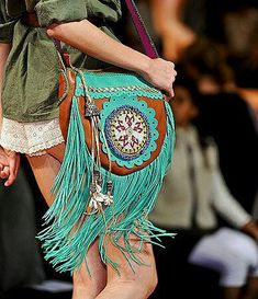 Turquoise fringe side bag