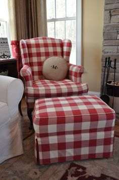 great red check chair and ottoman - The Thrifty Gypsy