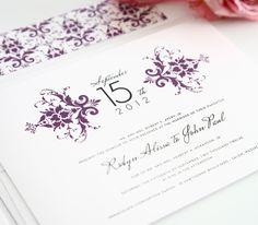 Pretty purple damask wedding invitations.  Love the vintage, yet modern look!