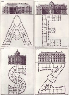 Johann David Steingruber, Architectonisches Alphabeth, 1773 (via subtilitas) Typography as a spacial configuration; Paper Architecture, Classic Architecture, Architecture Drawings, Beautiful Architecture, Architecture Details, Graphic Design Typography, Design Elements, Lettering, How To Plan