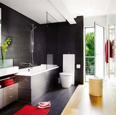 Here is the idea of ​​black contemporary bathroom design, bathroom design Black, some people have this favorite designs. with good lighting iniside. An elegant black wall tiles and floor tiles, creating an elegant atmosphere. This dark black bathroom design, do not make the bathroom creepy and ugly, it has good lighting, so the bathroom will be seen in good light.
