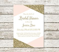 Gold and Pink Bridal shower Invitation by SweetTeaAndACactus