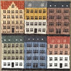 Copenhagen's Distinct Architecture Knit into Color-Blocked Urban Landscapes by Jake Henzler Hand Knit Blanket, Knitted Blankets, Architecture Amsterdam, Knit World, Color Switch, Knit Art, Colossal Art, Knitted Animals, Australian Artists