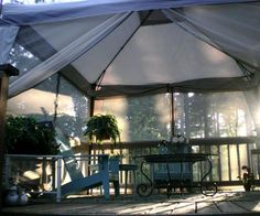 Screen In Your Deck Easily & Inexpensively. This is what we are doing with our back deck. This canopy is also at Kmart for $150