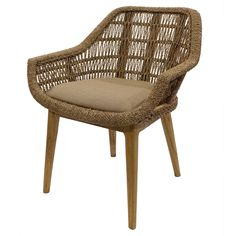 """Leia KD Rattan and Seagrass Side Chair, Natural Material: Seagrass, Rattan, solid Mindi Wood and 100% Polyester Description: Classic side chair in Mid-Century silhouette; handwoven of natural seagrass material to create the seat frame with non-removable polyester covered cushion on sturdy Mindi wood legs.   Dimensions:  24""""w x 25.5""""d x 30""""h Seat Height: 19"""""""
