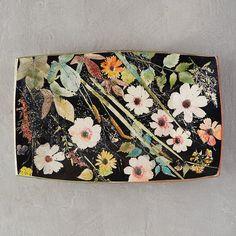 Wildflower Series Rectangle Platter, Black