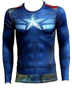 Junior SuperHeroes Costume T-Shirt Short Sleeve Running Cycling Captain America