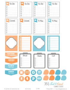 Free planner stickers printable in teal and coral suitable for the Erin Condren, personal planners and other papercrafts. Free for personal use only. Free Planner, Planner Pages, Weekly Planner, Happy Planner, College Planner, College Tips, Smash Book, Planner Bullet Journal, Planner Supplies