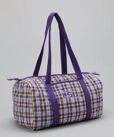 Look at this #zulilyfind! LSU Tigers Plaid Duffel Bag #zulilyfinds