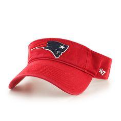 2d5a0c81037e5 New England Patriots 47 Brand Red Clean Up Adjustable Strap Golf Visor Hat  Cap
