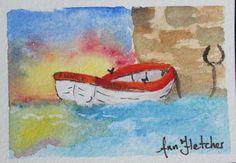 "Rowboat - 2.5 x 3.5"" watercolour"