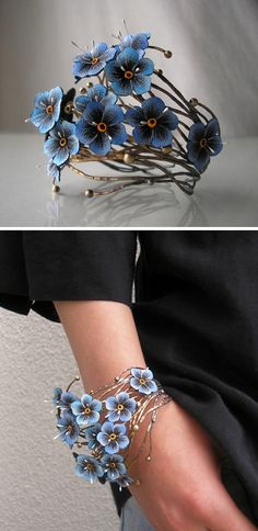 Bracelet | Jolanta Bromke flowers are painted leather. bracelet is ss