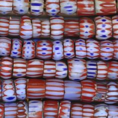 African Trade Beads Blue Red VENETIAN AWALE.