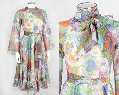 VTG 60s 70s DON LUIS DE ESPANA MULTICOLOR FLORAL PRINT CHIFFON DRESS SASH SZ 6 #DonLuisdeEspana