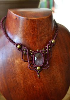 Faceted amethyst bohemian macrame necklace / boho jewelry / ethnic chic necklace…