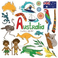 Illustration about Colorful sketch collection of Australia icons, countries alphabet. Illustration of cockatoo, animal, outback - 42189832 We Are The World, Countries Of The World, World Cultures, Geography For Kids, World Geography, Aboriginal Culture, Australia Day, Queensland Australia, Travel Journals