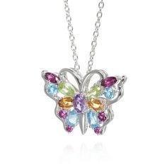 Belk  Co. Multi Multi-Stone Butterfly Pendant In Sterling Silver ($105) ❤ liked on Polyvore featuring jewelry, pendants, multi, chains jewelry, sterling silver jewelry, chain pendants, butterfly pendant and monarch butterfly jewelry