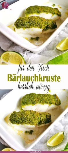 Cod in wild garlic crust- Kabeljau in Bärlauchkruste We chose the cod for this recipe, it … - Shellfish Recipes, Shrimp Recipes, Baby Food Recipes, Beef Recipes, Cooking Recipes, Healthy Recipes, Garlic Recipes, Fish On Good Friday, Clean Eating Recipes