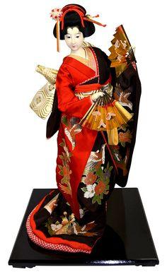 Japoński kolekcjonowania lalka ubrana w kimono, wspaniałe rocznika