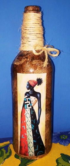 Glass Bottle Crafts, Wine Bottle Art, Painted Wine Bottles, Glass Bottles, Wine Glass, Decorated Bottles, Sisal, Decoupage, Projects To Try