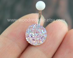 Sparkling belly ring,blingbling belly button ring,Clear and Pink Purple Navel , Navel Piercing Ring Stud Piercing by woodredrose on Etsy https://www.etsy.com/listing/203671720/sparkling-belly-ringblingbling-belly