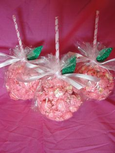 Popcorn Ball  Favor with Ribbon...an apple a day keeps the doctor away, doc mcstuffins party!