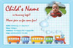 Print your own invitation. Boy Birthday Invite - train design