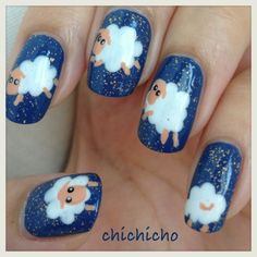 Video: Insomnia? Count the sheep! Sheep Nail Art Tutorial | chichicho~ nail art addicts