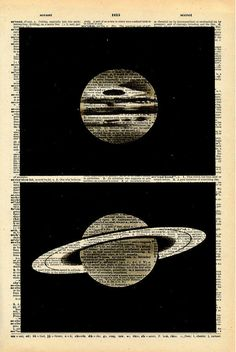 "Vintage Dictionary Print ""Planets"" Antique Book Print - Outer Space Night Sky Art - Natural History Print. $10.00, via Etsy."