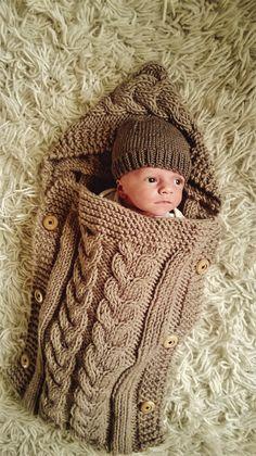 baby cocoon gestrickte decke kabel schlafsack baby von soulofelena baby pinterest. Black Bedroom Furniture Sets. Home Design Ideas