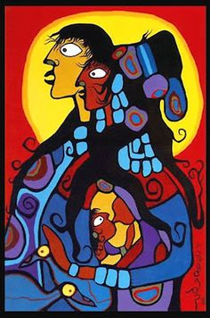 """Victoria and Family"", Norval Morrisseau, acrylic on canvas, x 99 cm, Private Collection. The artist celebrated the birth of his first grandson with this beautiful portrait of his first daughter Victoria with her husband and nursing baby. Native American Paintings, Native American Artists, Canadian Artists, Native Canadian, Canadian Painters, Ontario, Maria Emilia, Woodland Art, Inuit Art"